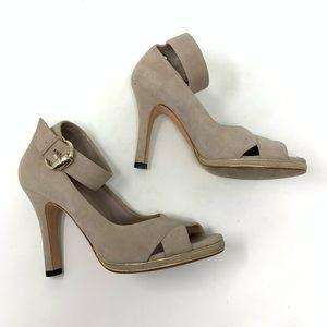Gucci tan suede peep toe ankle strap pumps